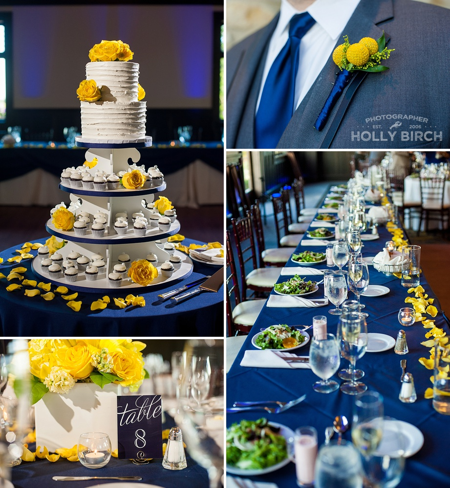 navy and yellow wedding reception details