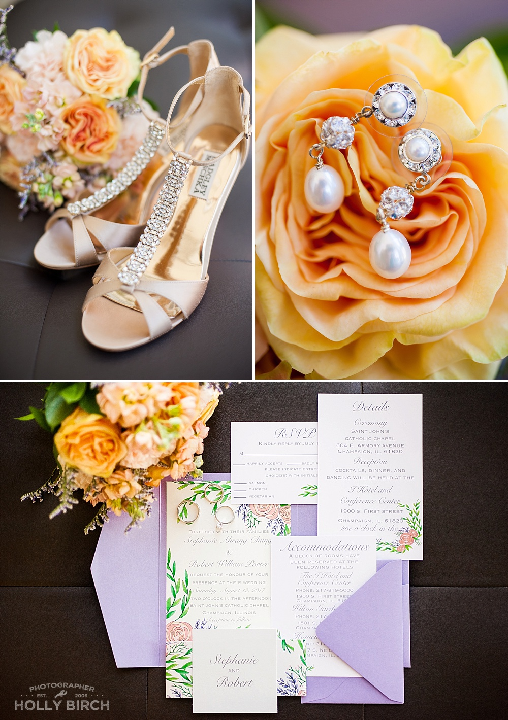 lavender & peach wedding details & flowers