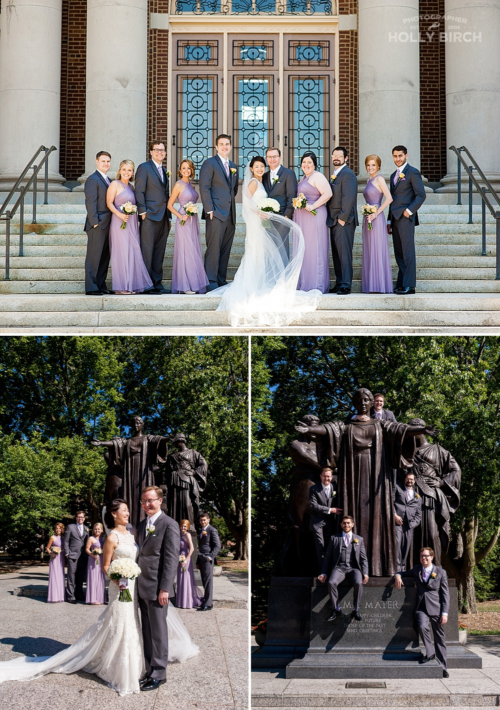 lavender and gray wedding party photos on U of I campus