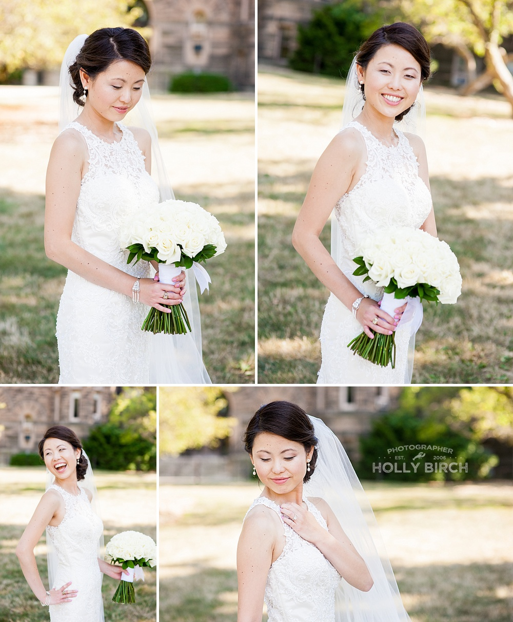 beautiful bride with all-white rose bouquet