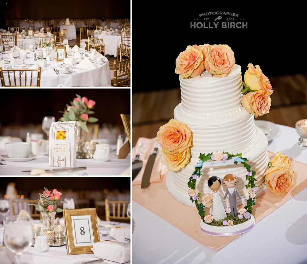 peach white gold wedding reception at iHotel