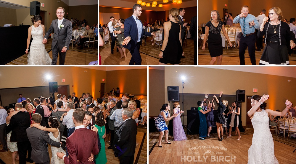 wedding guests dancing and bouquet toss