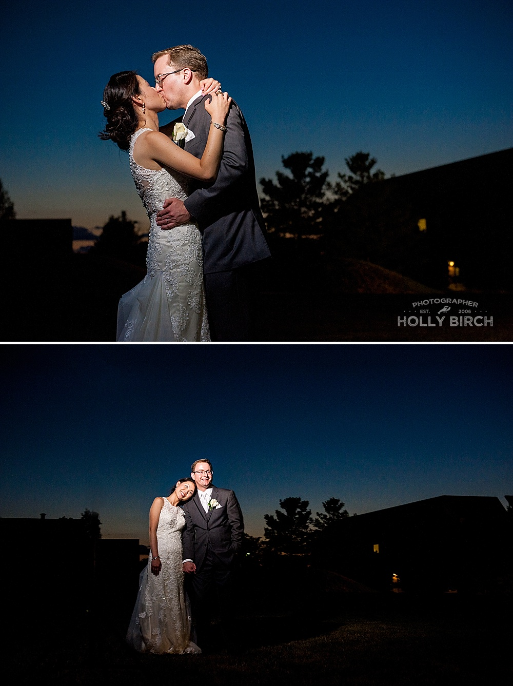 post sunset wedding portraits with new couple
