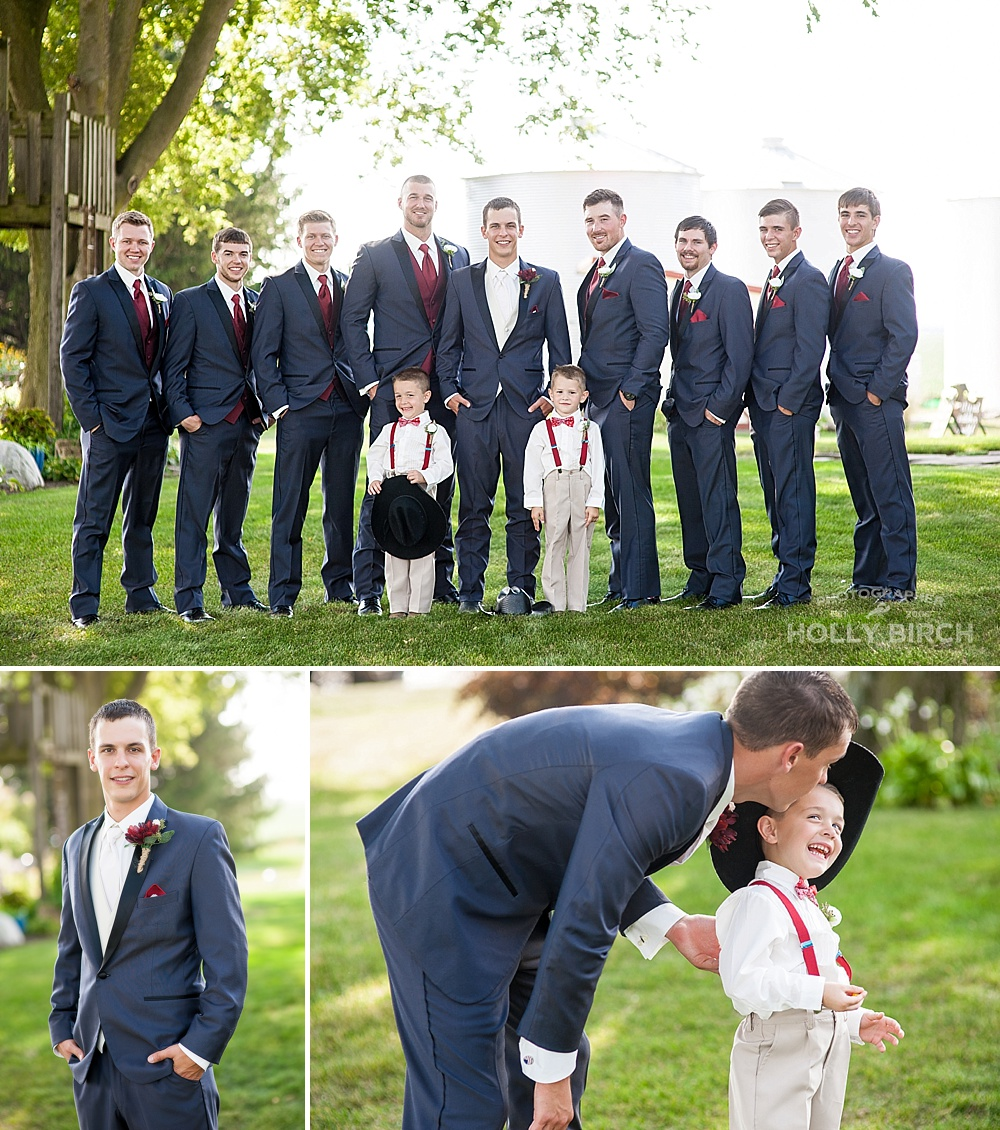 groomsmen in charcoal suits