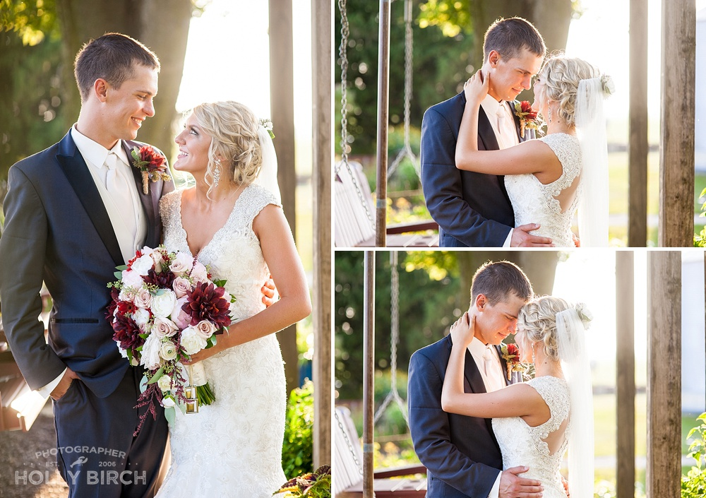 backlit sunlight wedding portraits