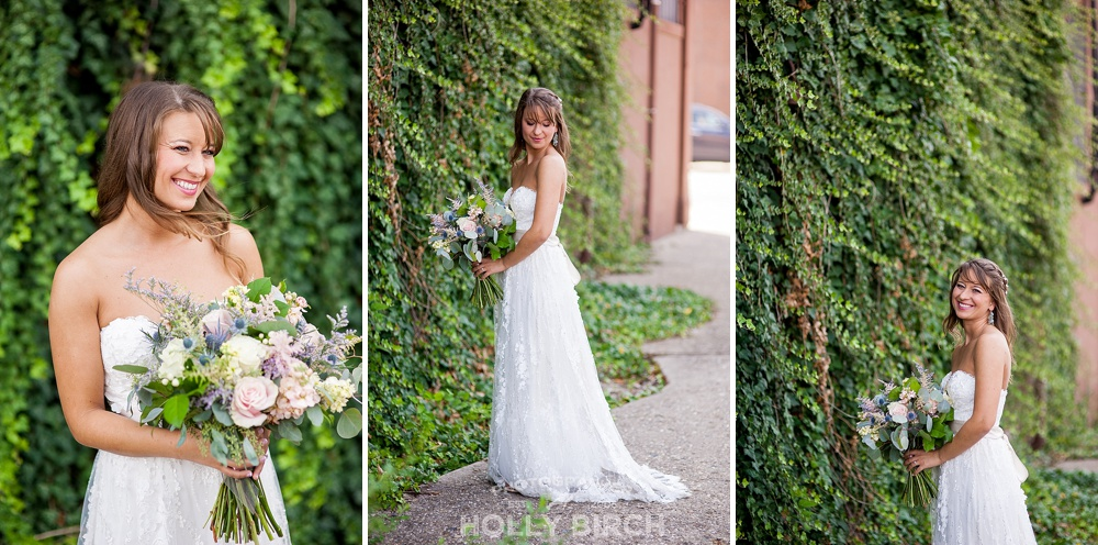 bride with ivy covered wall