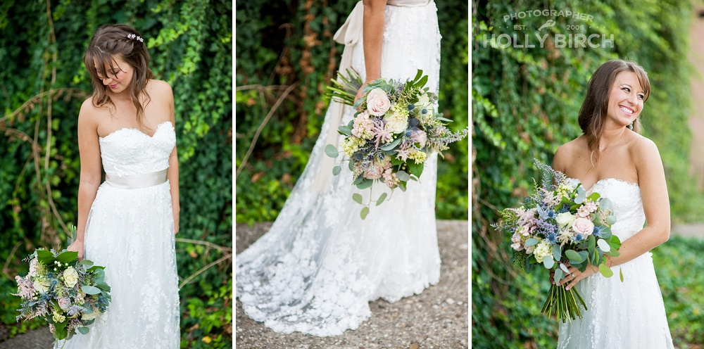 wedding gown with ivy wall