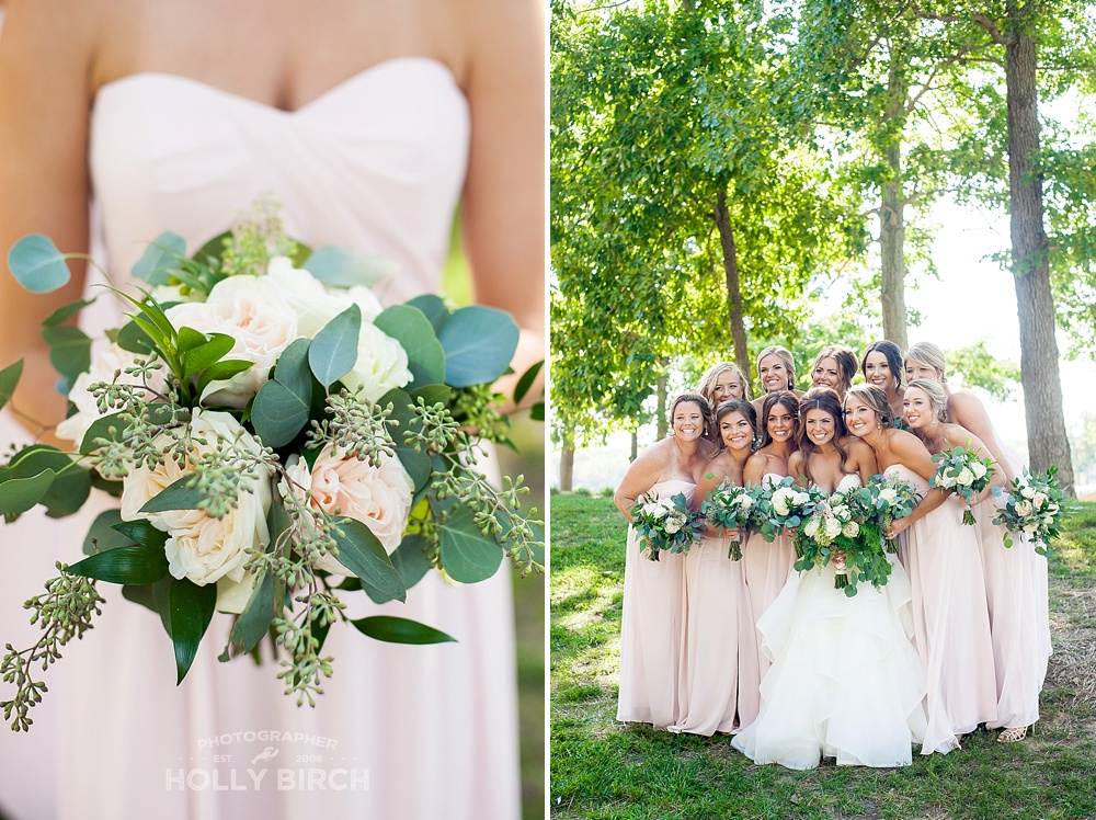 blush pink bridesmaids with bouquets from Flora Design Studio