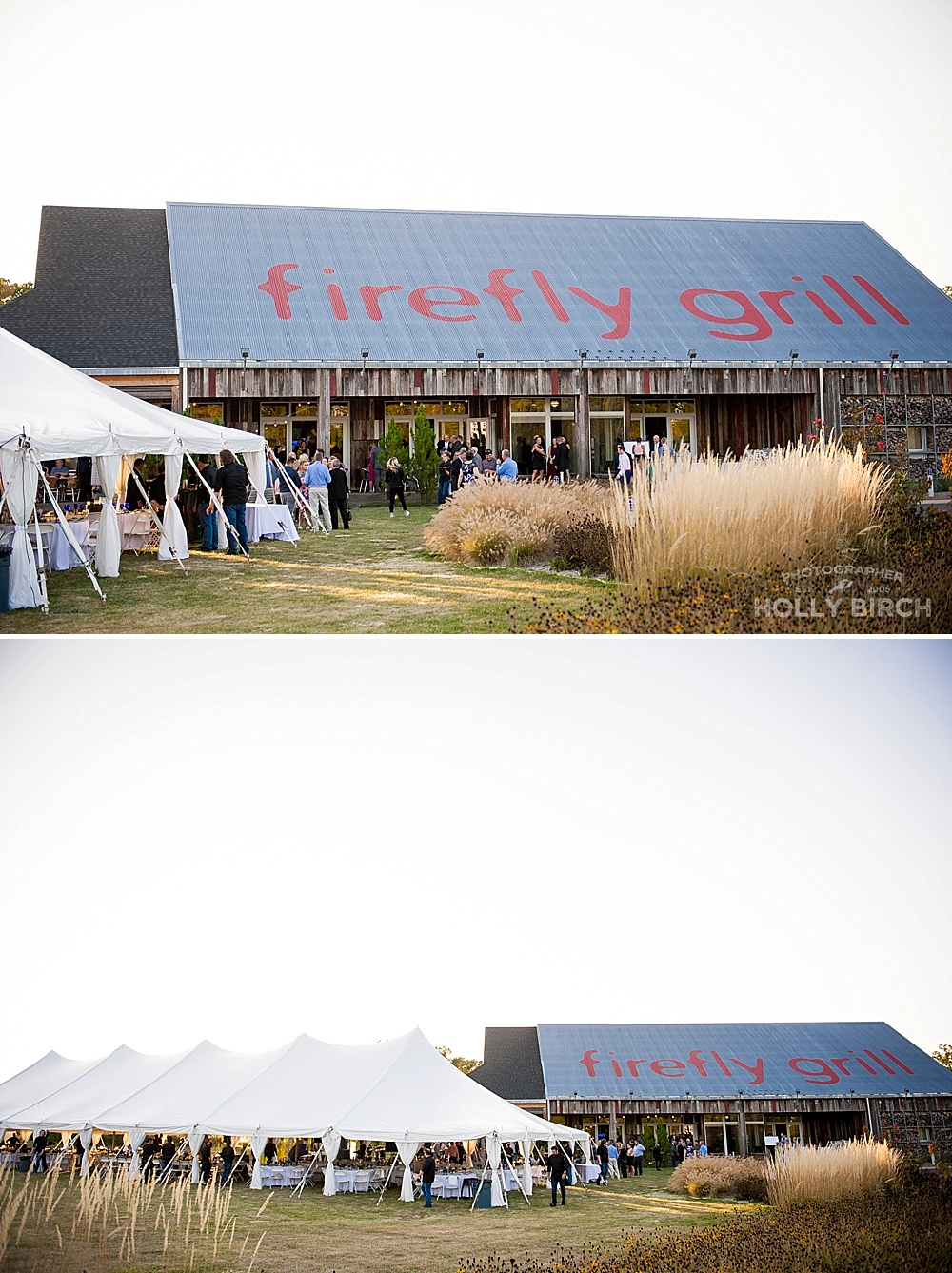 Firefly grill tent reception at sunset