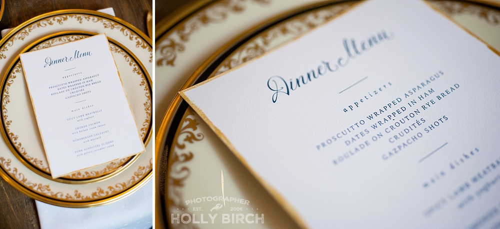 24K gold dinner plates with tea-stained menu