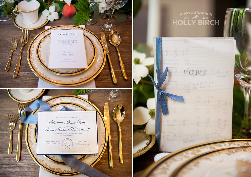 blue satin sashes details with gold accent dinner plates