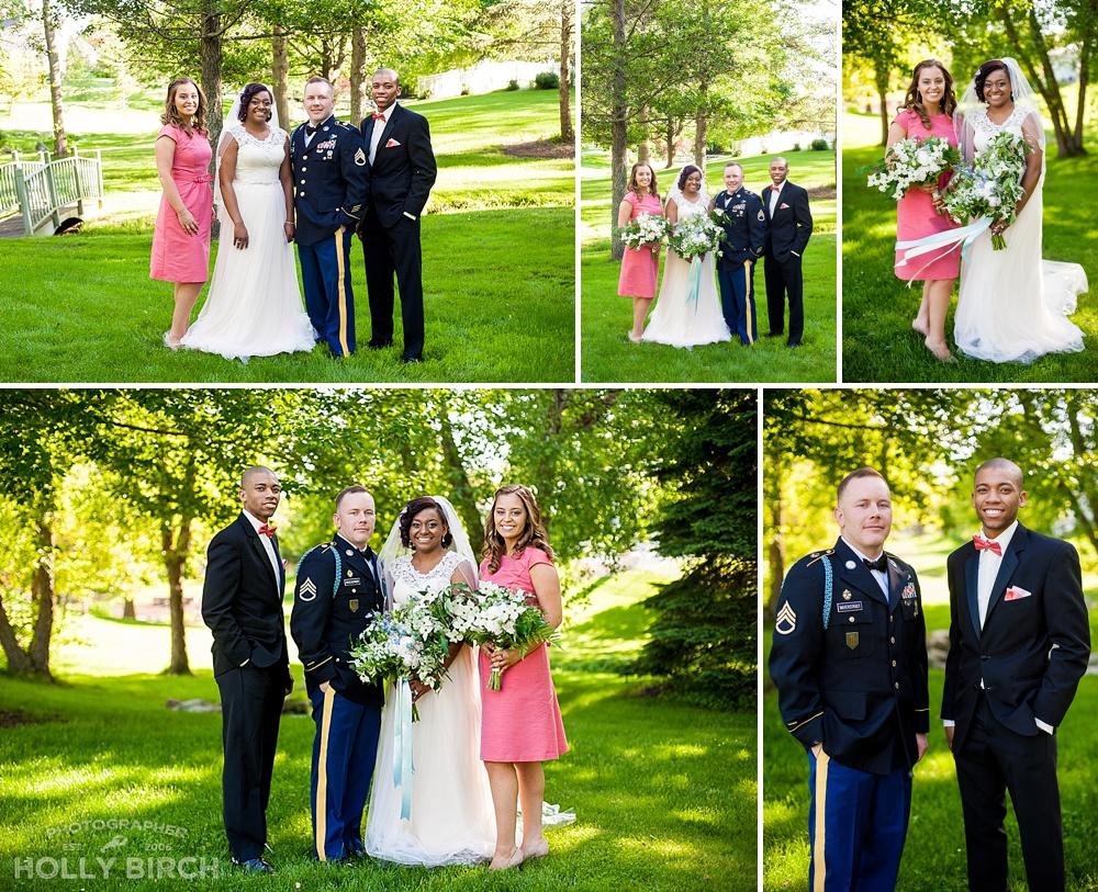 bridal party at backyard wedding