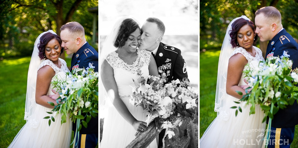 military groom with bride