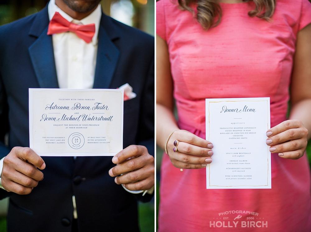 austrian inspired wedding invitation and menu