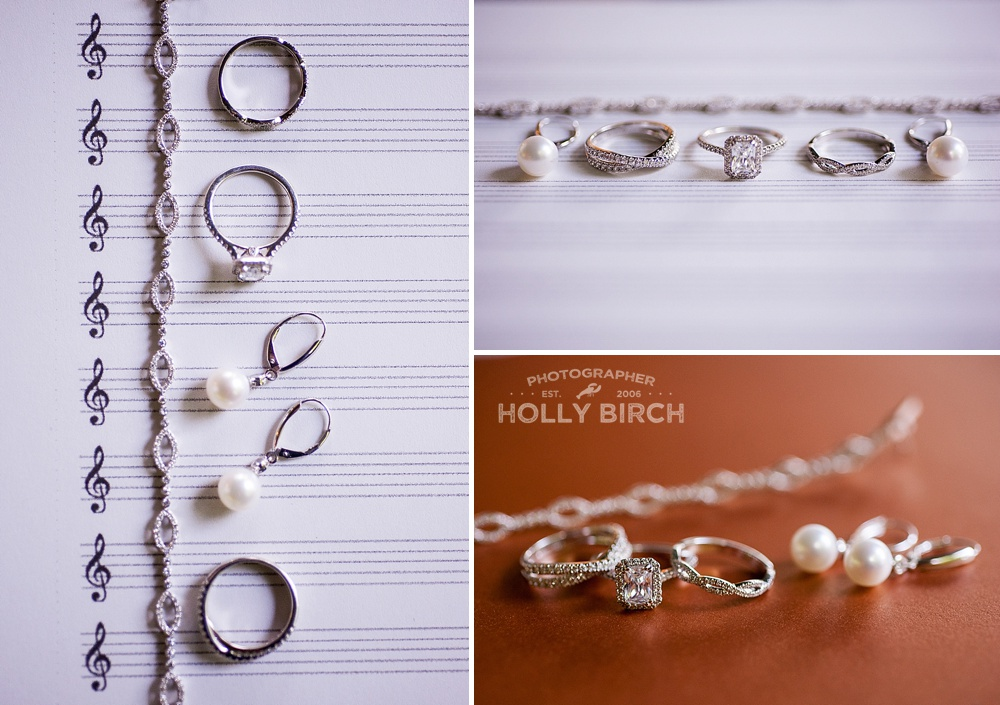 treble clef sheet music with jewelry