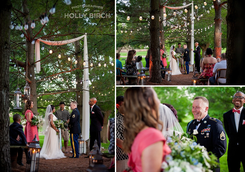 outdoor wedding ceremony among the trees