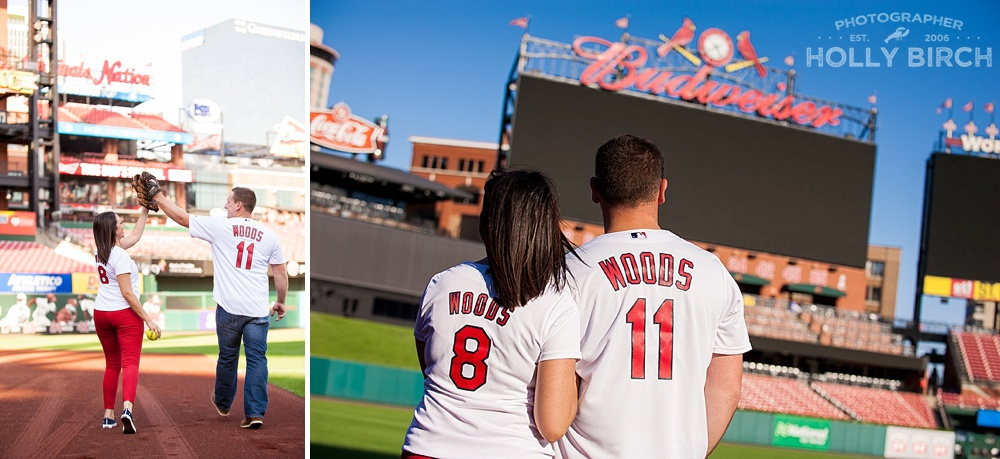 outfield at Busch Stadium engagement pics