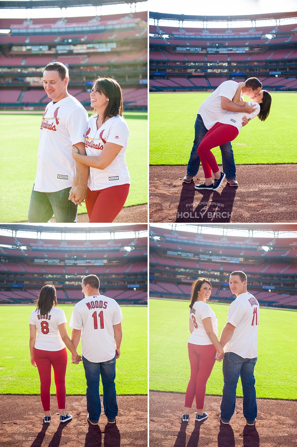 engaged couple session in the outfield at Busch Stadium