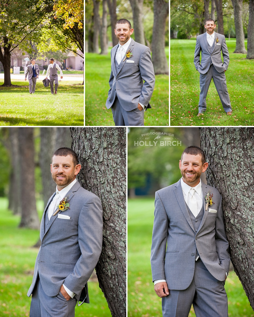 groom in gray suit from Michelle's Bridal