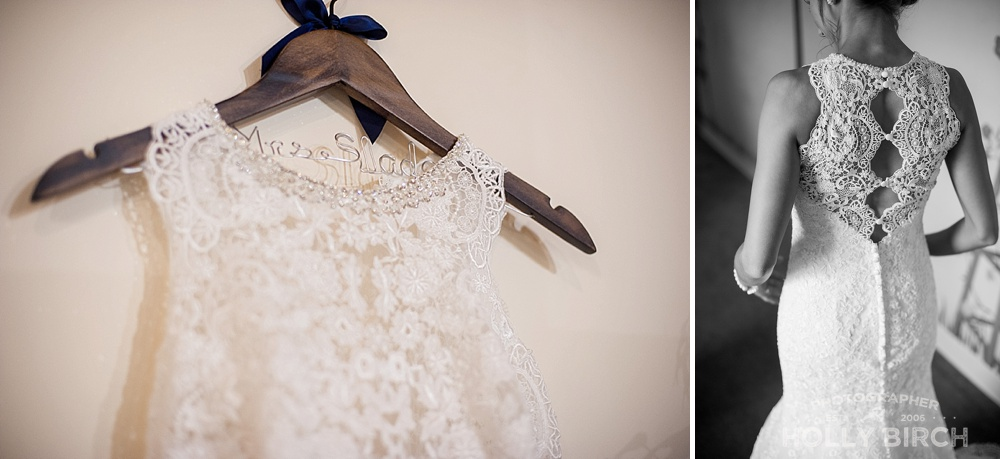 wedding gown details and hanger by Michelle's Bridal
