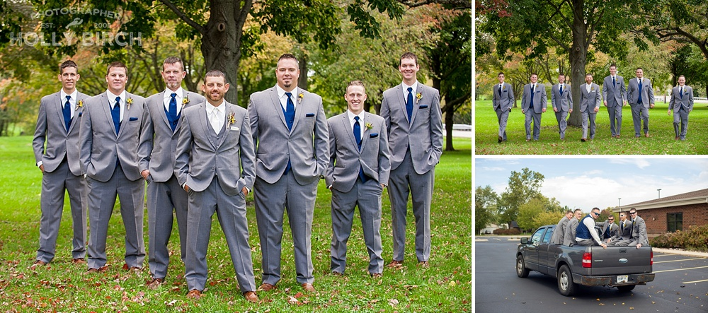 groomsmen V pose in Champaign