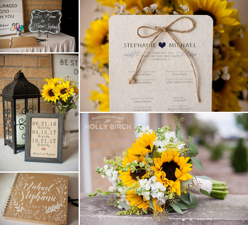 fall wedding sunflower details