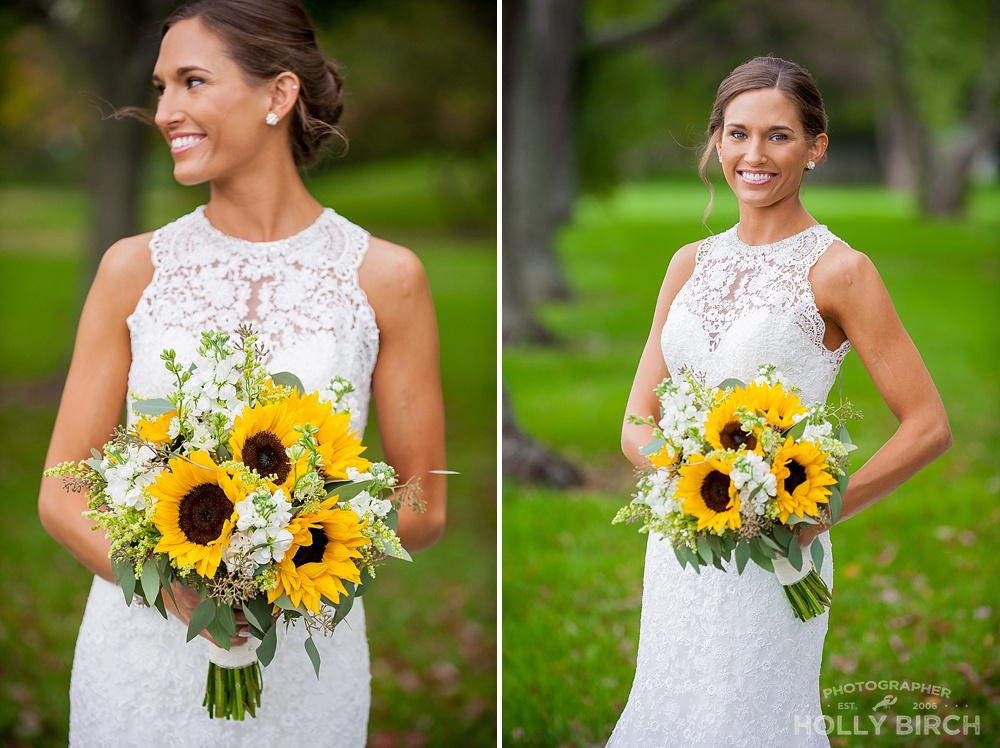 lace bridal gown with sunflower bouquet