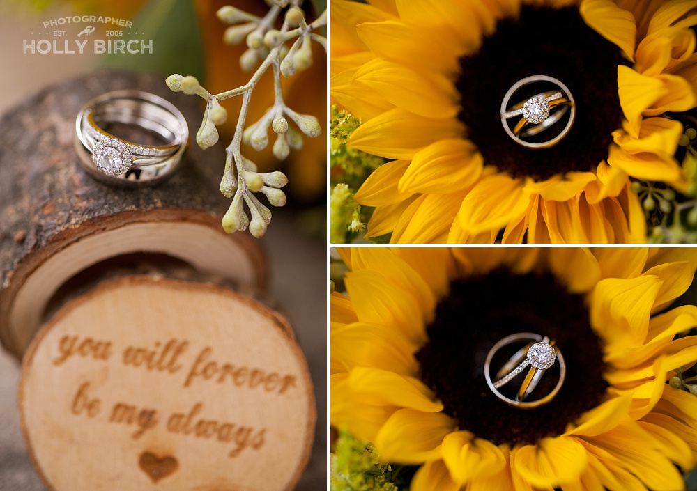 wooden ring box with sunflowers