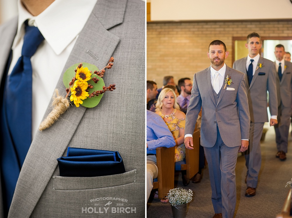 groom with sunflower boutonneire
