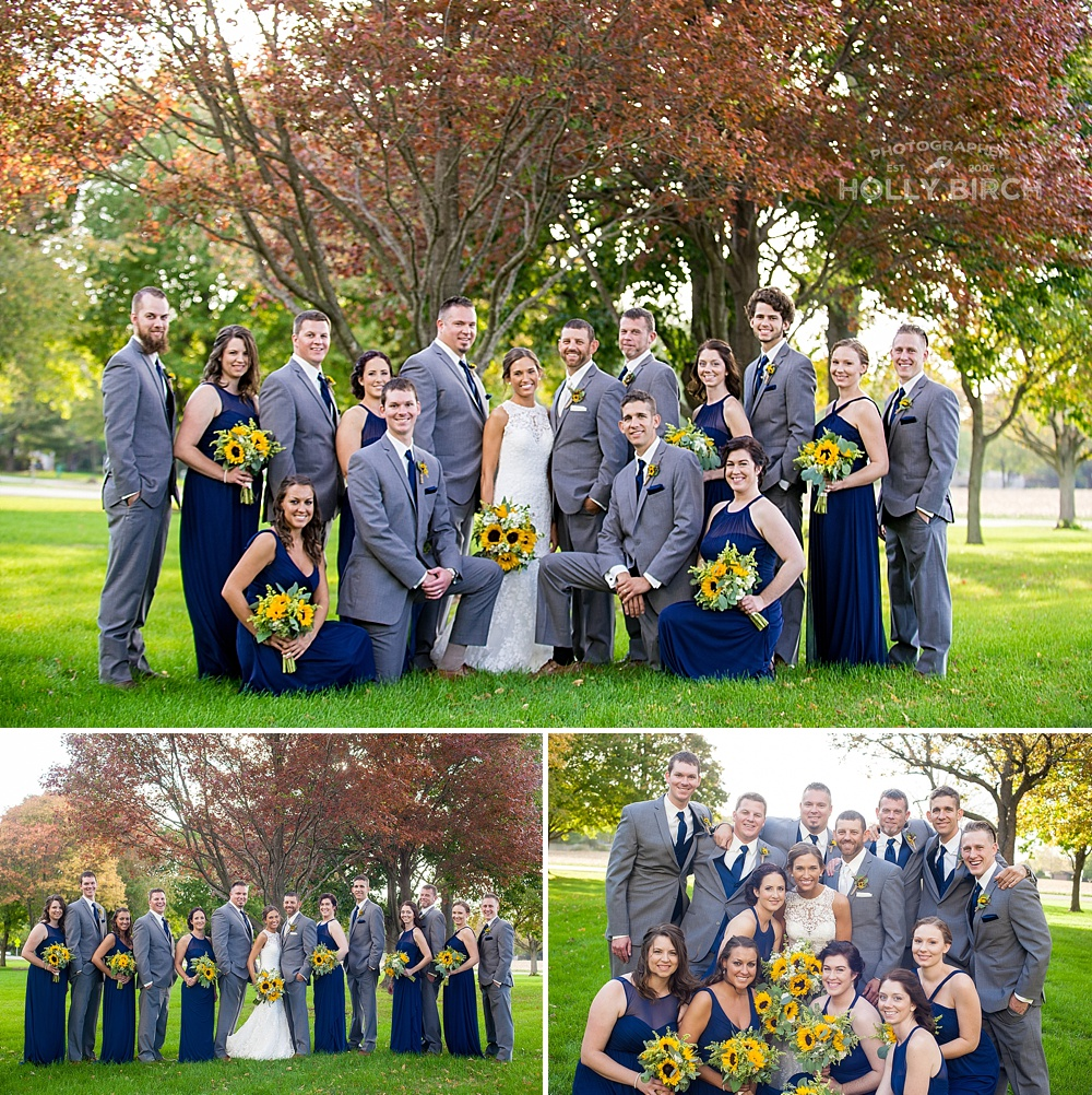 gray and navy wedding party with sunflowers