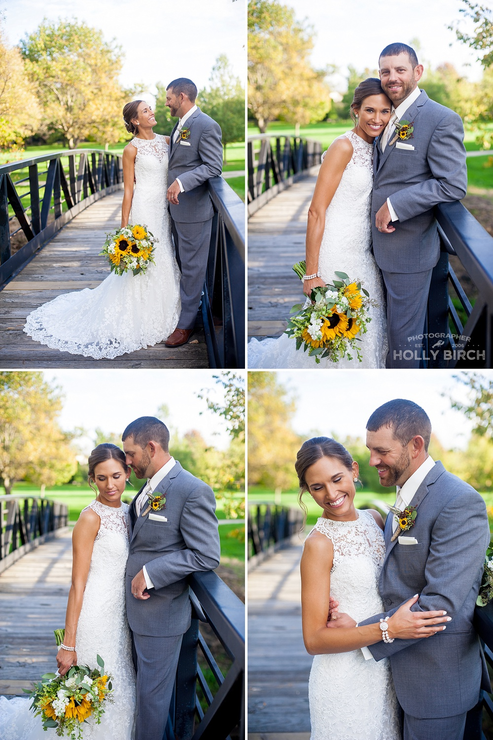 wedding photos at Robeson Park bridge