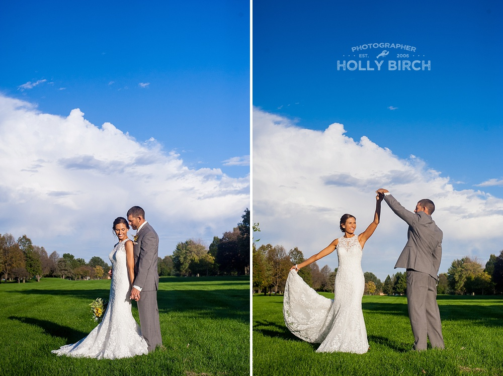 bright blue skies wedding photos