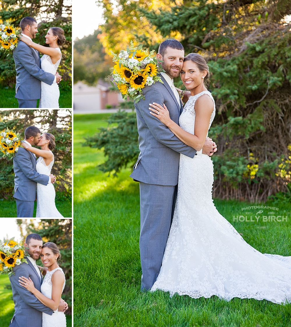 wedding images in front of golden sunlight and evergreen tree