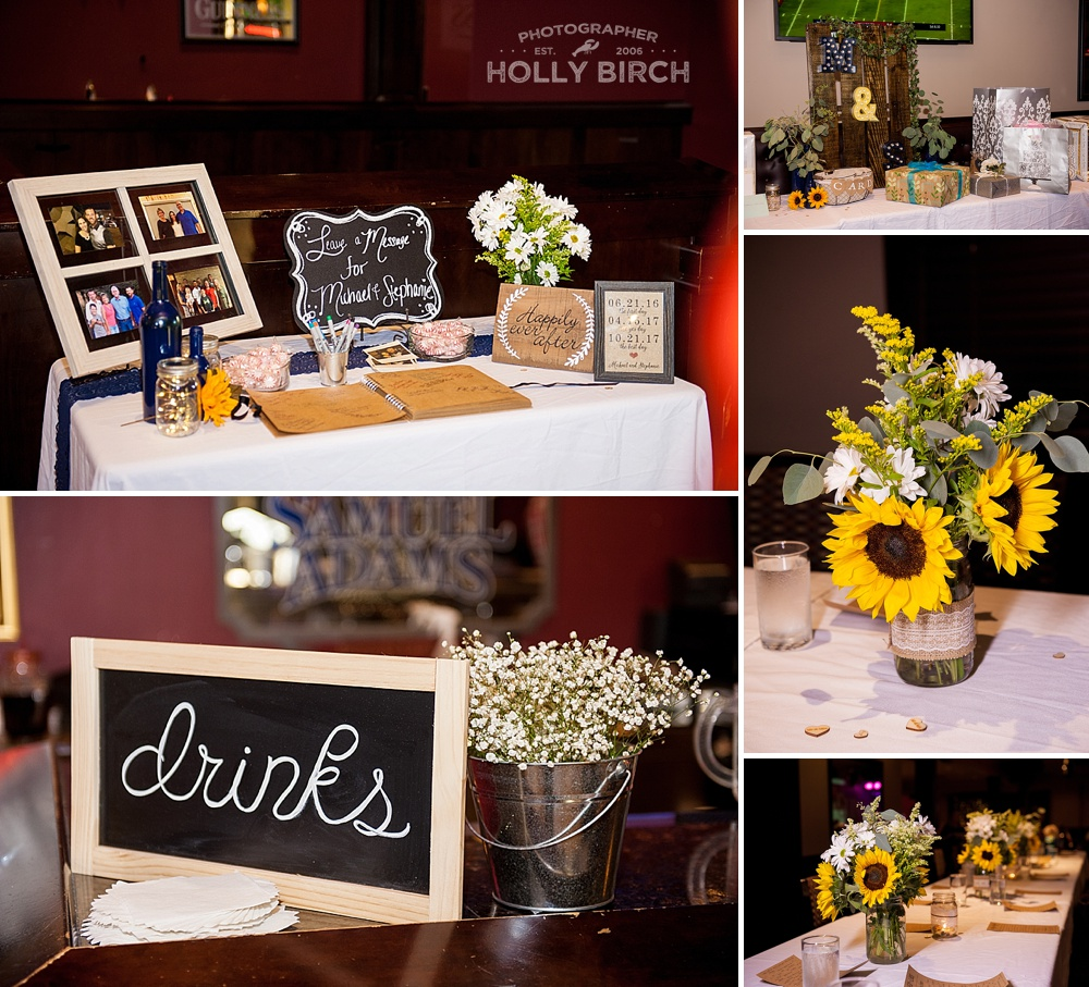 fall wedding details with chalkboard signage