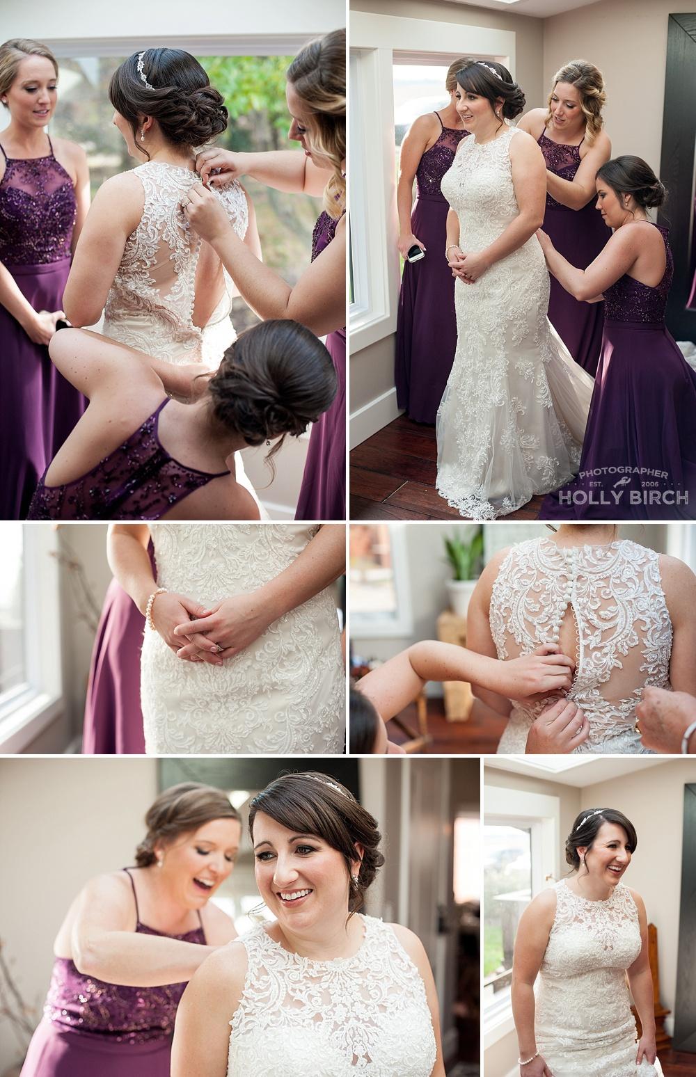 buttoning bride's dress