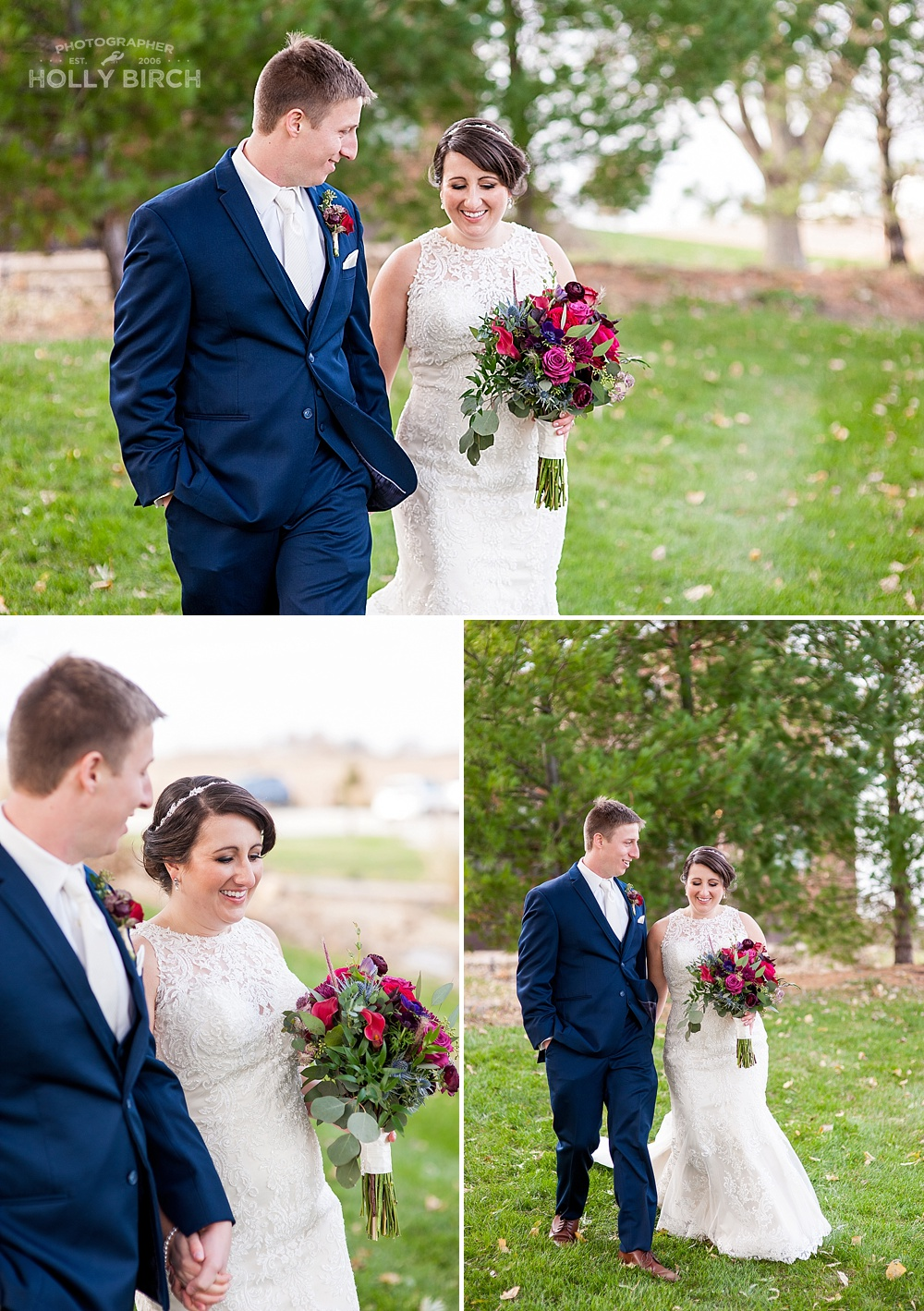 bride and groom candid walking photos