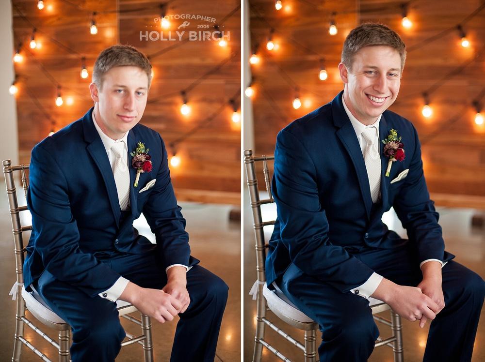 groom with bulb light wall