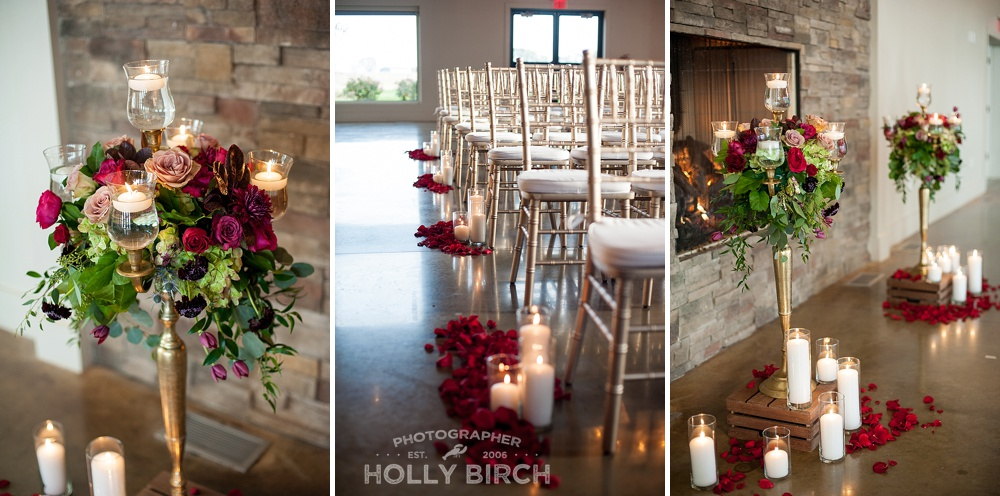 floral details and gold chiavari chairs