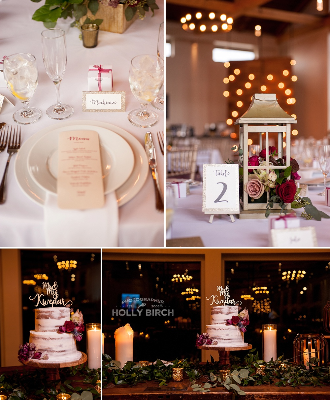 reception golden candlelight details