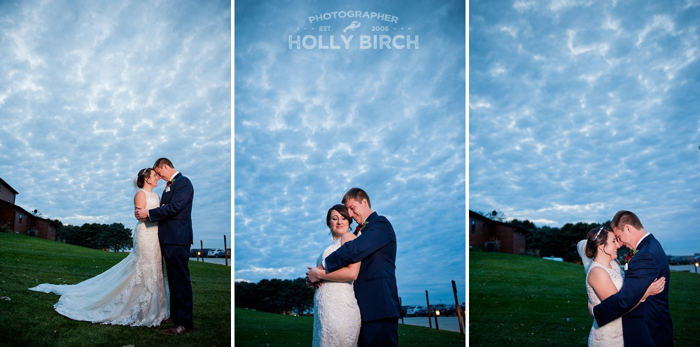 deep blue cloudy skies on wedding day