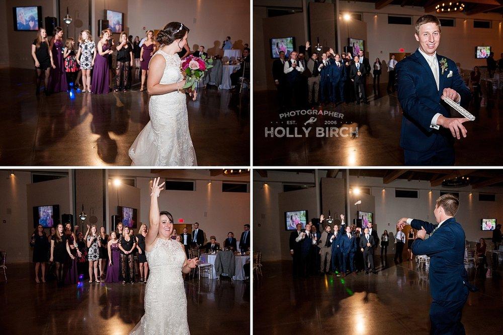 bridal bouquet and garter toss