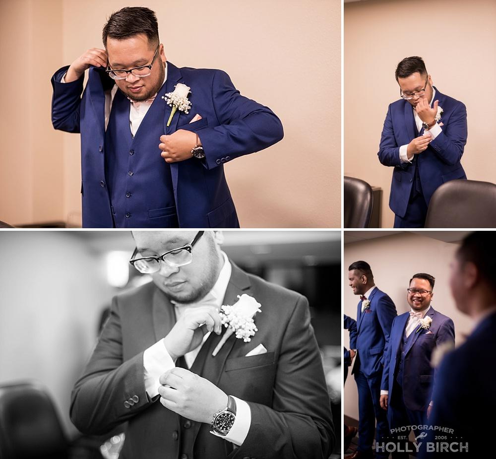 groom getting ready in Buffalo Grove