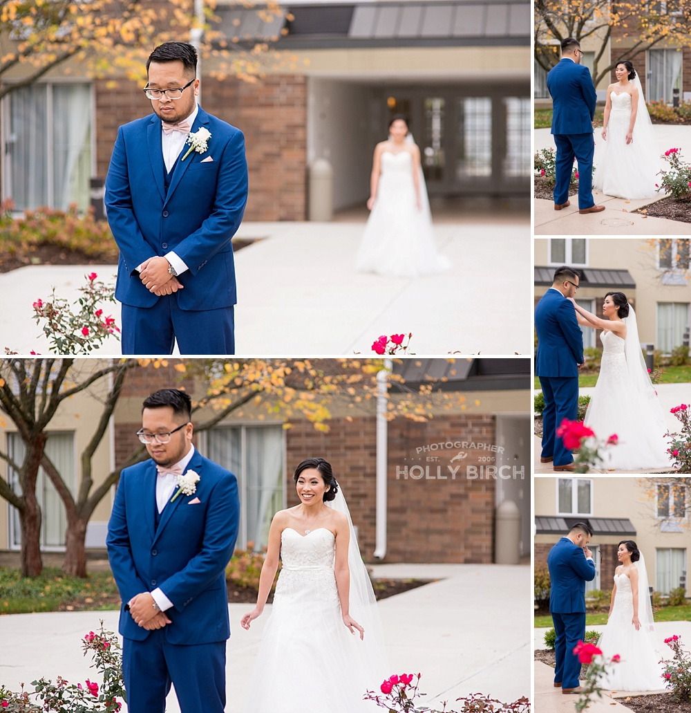 first look by bride and groom in hotel courtyard