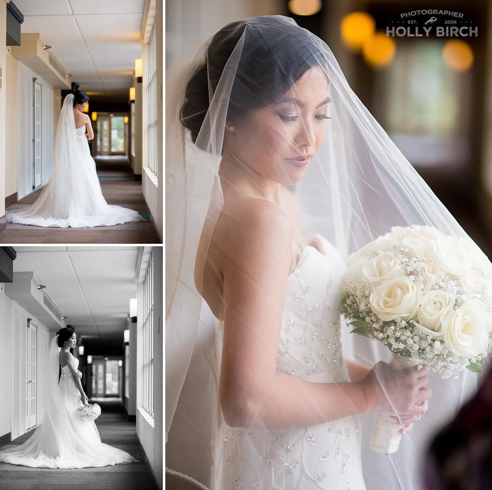 beautiful blushing bride with veil
