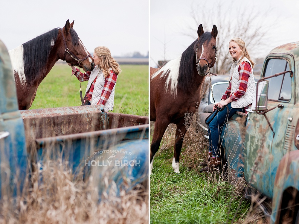 Unity Rockets senior girl with horse and rusty truck