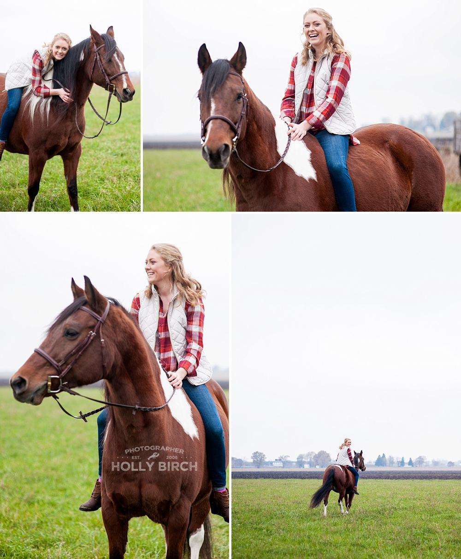 girl riding horse for senior photos