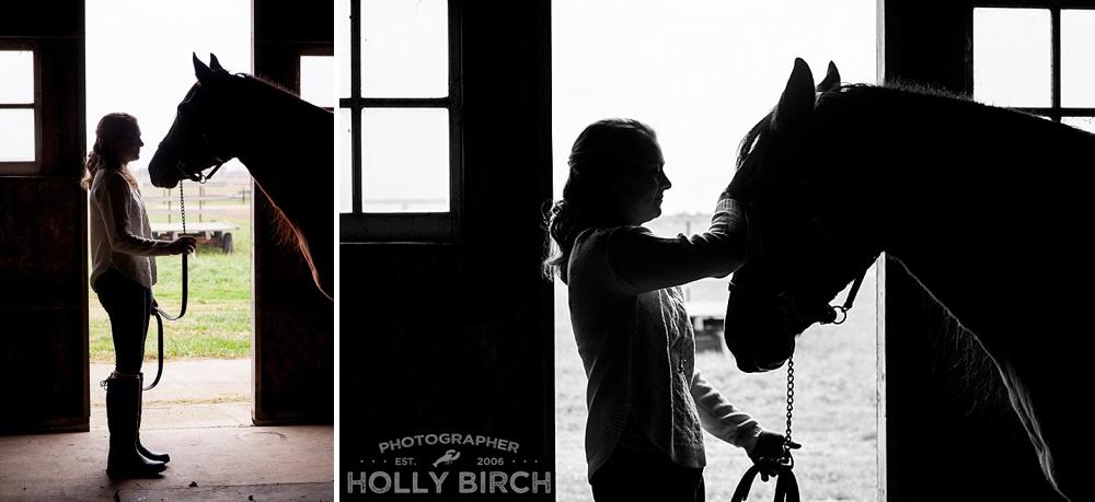 horse silhouette senior photo session