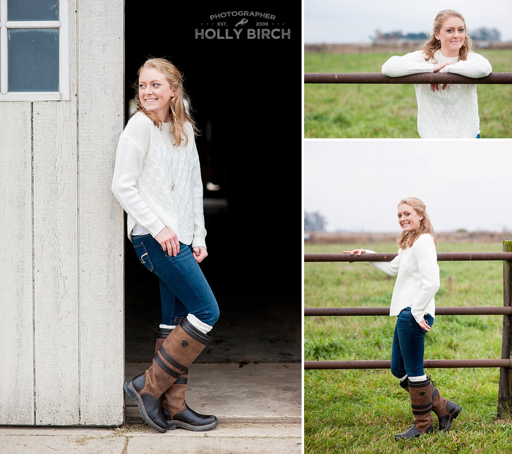 senior pics at horse farm pasture