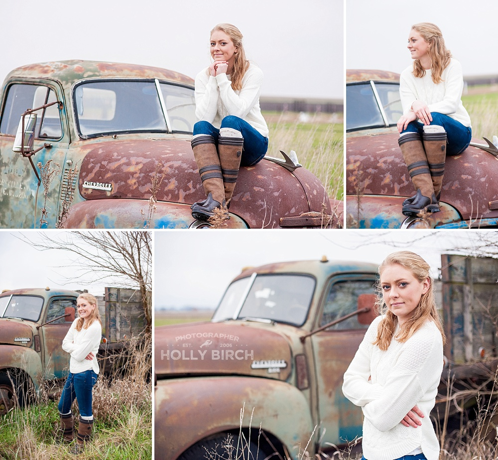 senior pics on hood of rusty truck
