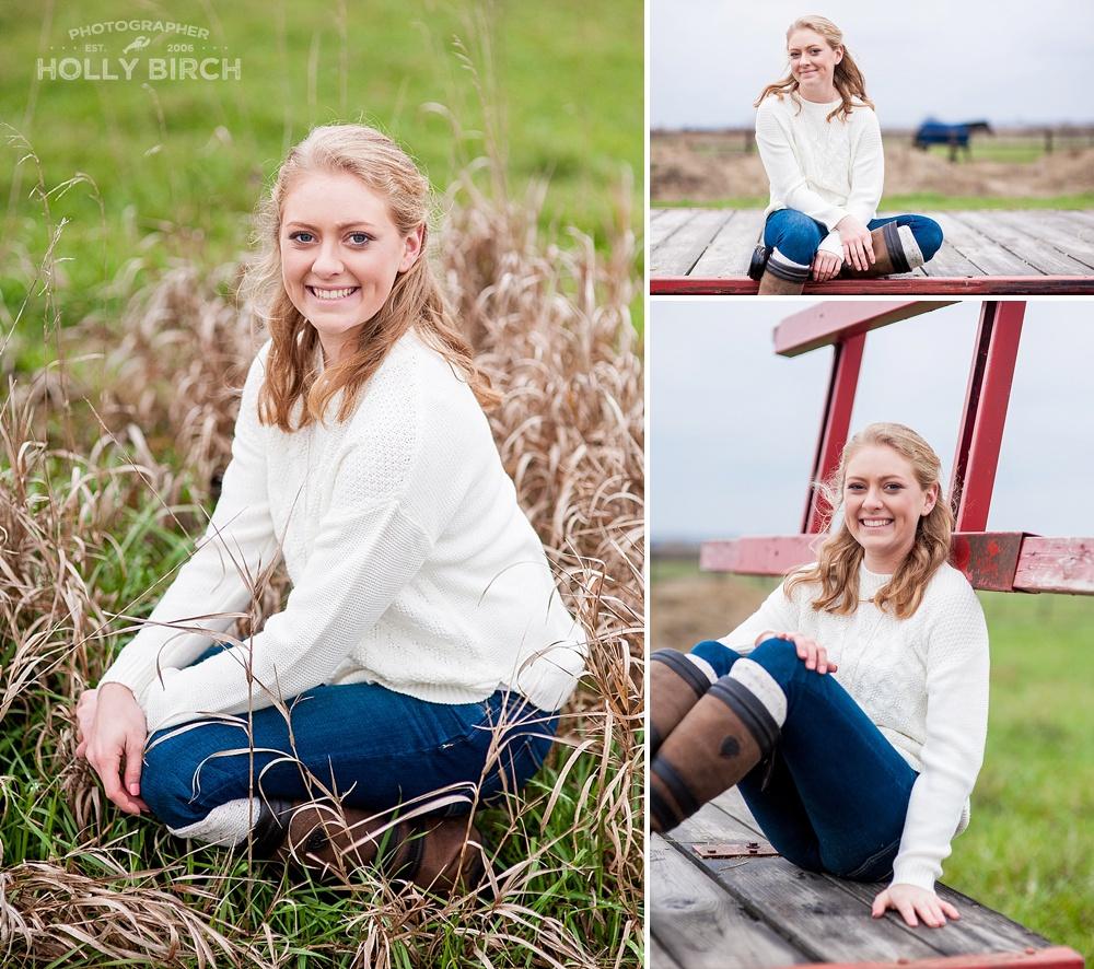 senior girl sitting poses on farm